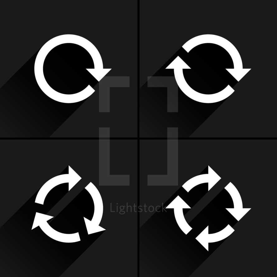 White arrow loop, refresh, reload, rotation icon in flat style. Graphic element for design saved as an vector illustration in file format EPS