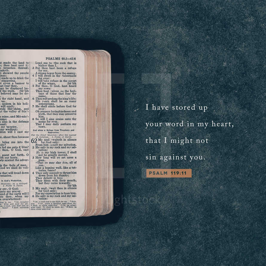 I have stored up your word in my heart, that I might not sin against you. – Psalm 119:11