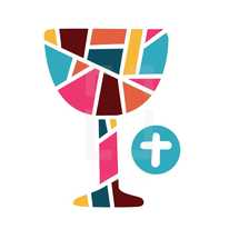 communion chalice and wafer in stained glass