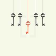 unique hanging key illustration.