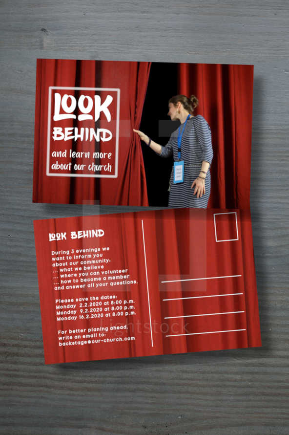 post card with a woman checking behind the curtains on stage for the invitation to have a look behind and learn more about our church – text individually exchangeable