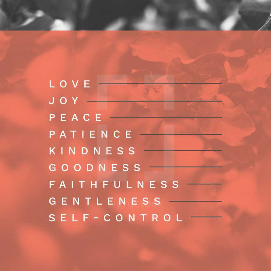 Love, joy, peace, patience, kindness, goodness, faithfulness, gentleness, self-control.