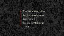 What are human beings, that you think of them; mere mortals, that you care for them? – Psalm 8:4