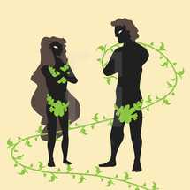 Adam and Eve in fig leaves