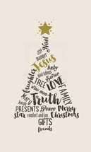 Christmas tree made of Christmas words.