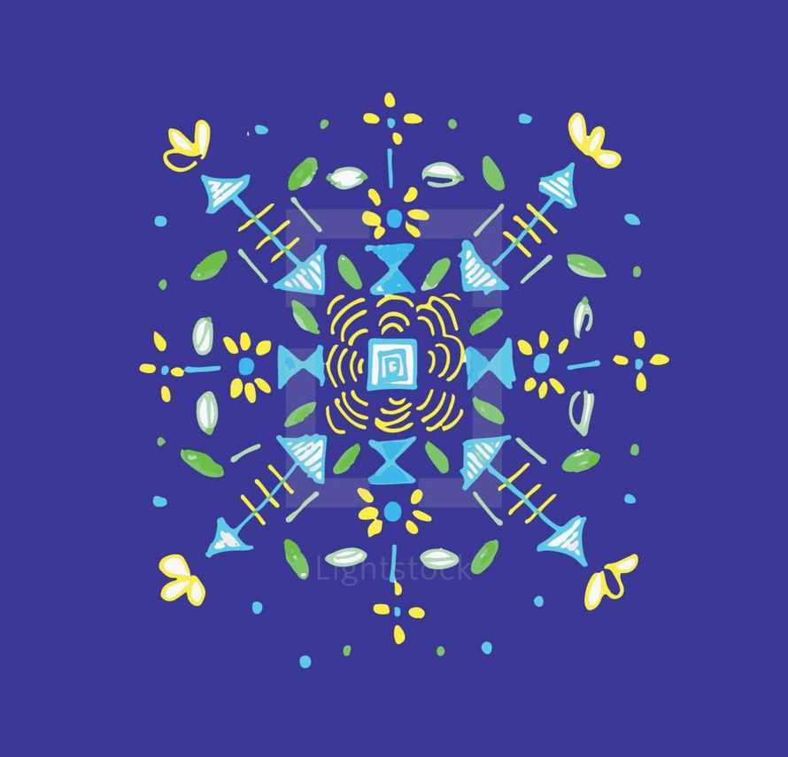 blue and yellow decorative floral background