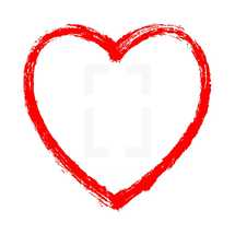Red heart contour painted by brush paint stroke. Ink sketch drawing created in handmade technique. Quick and easy recolorable shape isolated from the background. The design graphic element saved as a vector illustration in the EPS file format for used in your design projects.