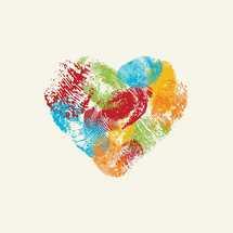 colorful vector heart made of fingerprints.