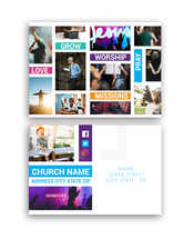 Dynamic Church Event Word Color Block Postcard Design