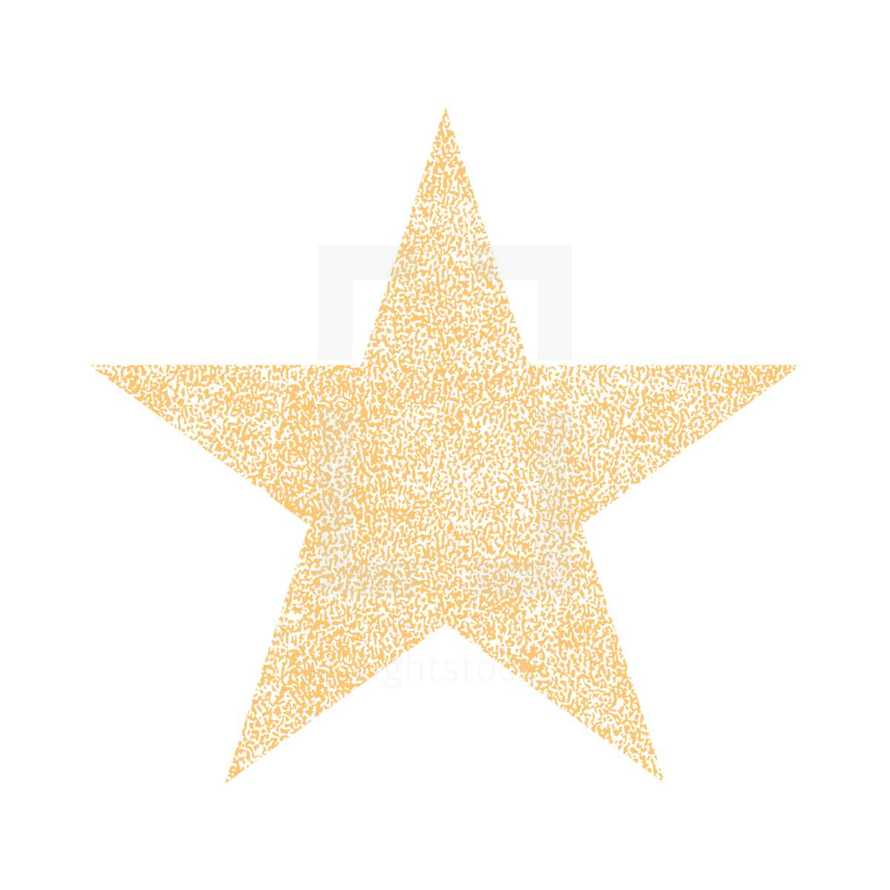 Star shape with effect paint texture. Star of Bethlehem. Quick and easy recolorable shape. Vector illustration a graphic element. Star of the Hollywood Walk of Fame.