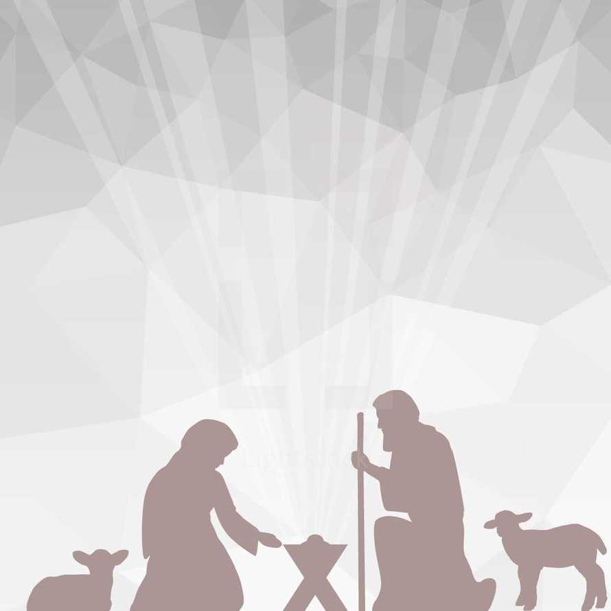 A Christmas nativity background with geometric shapes and silver tones.