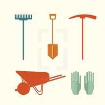 service tools, yard tools, gloves, wheelbarrow, wheel barrow, shovel, rake, ax, volunteering, gardening, icon