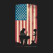 Silhouette of a soldier kneeling at the boots, gun, and helmet of a fallen soldier in front of a distressed American flag with Never Forgotten written beneath