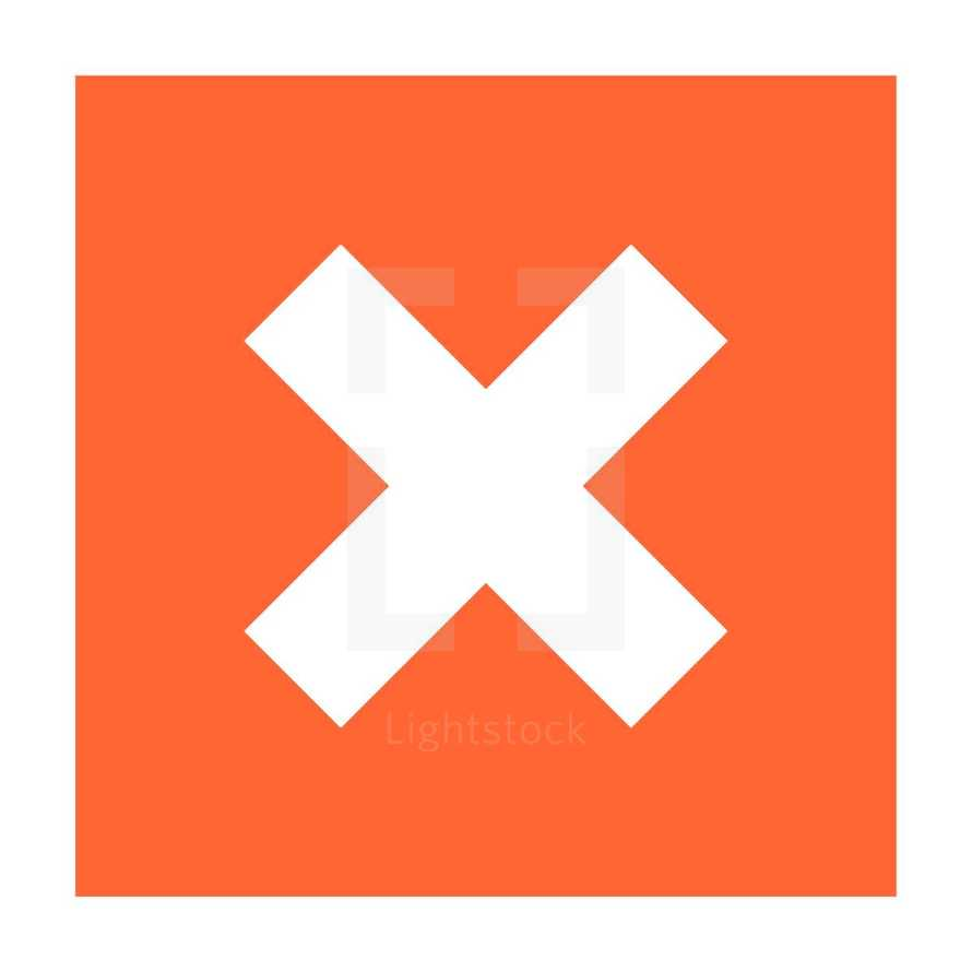 X sign on the orange-red background. Delete icon remove pictogram exclusion button. The square shape created in trendy flat style. The design graphic element saved as a vector illustration in the EPS file format for used in your design projects.