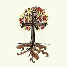 cross tree with fall leaves