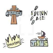 saved, king of kings, Jesus, crown, icon, words, lettering, boat, waves, follow me, footprints, cross, banner