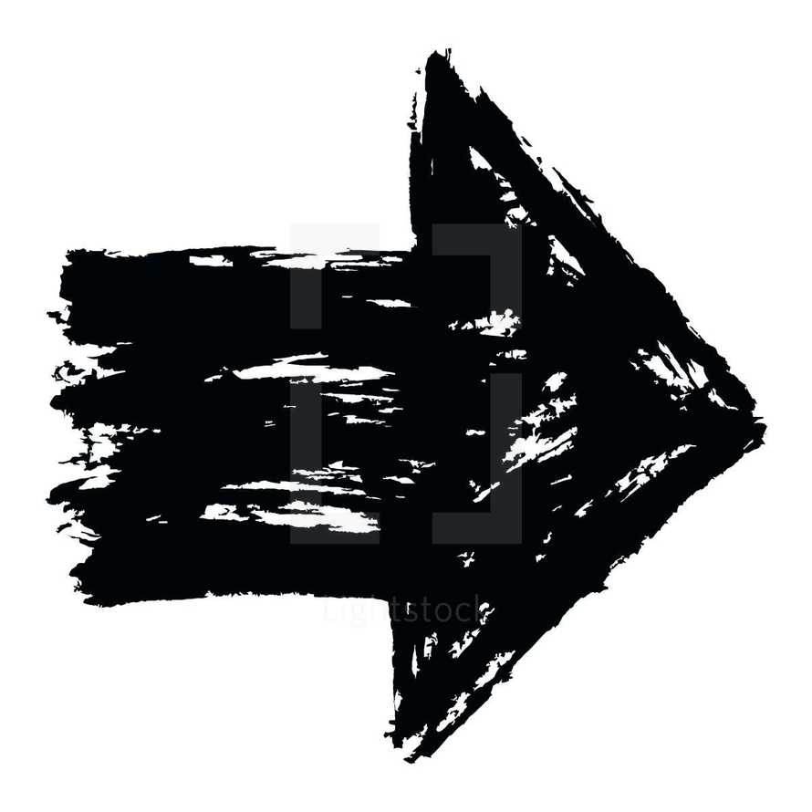 Arrow sign created with a ink and brush. Graphic element for design saved as an vector illustration in file format EPS