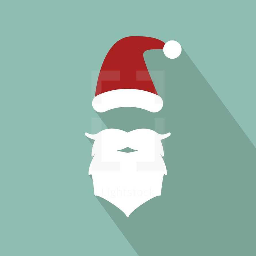 santa hat and beard illustration.