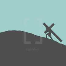 Minimalist Graphic Design Depiction featuring a Silhouette of Jesus Carrying His Own Cross up a Hill to be placed in between the two Crosses of the Thieves or Criminals to be used in the Crucifixion.