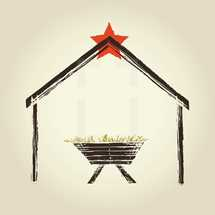 A drawing of the manger and star of bethlehem