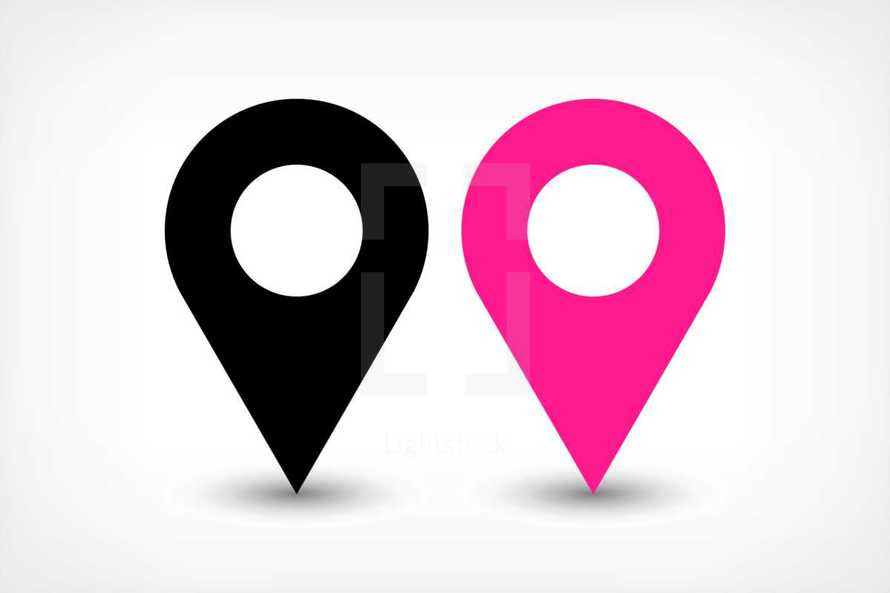 Map pin points sign location icon in flat style. Graphic element for design saved as an vector illustration in file format EPS