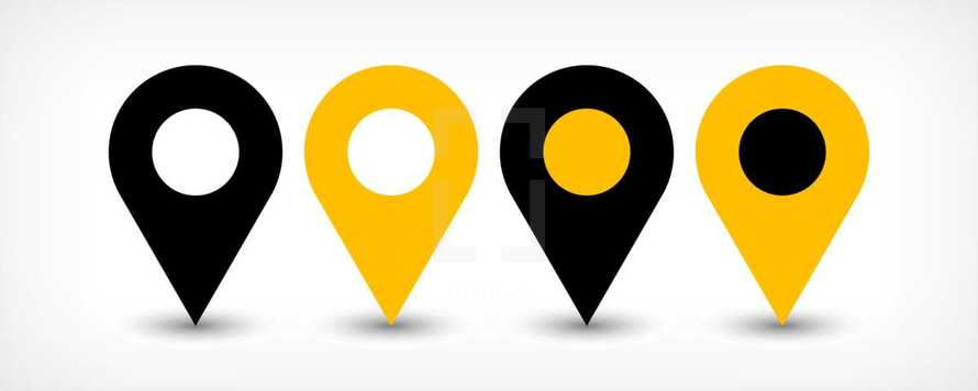 Map pin point sign location icon with gray shadow in flat style. Graphic element for design saved as an vector illustration in file format EPS