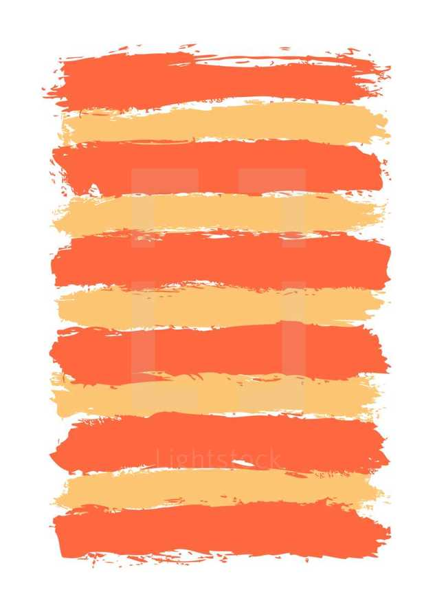 The red orange yellow paint brush stroke is drawn by hand. Paintbrush drawing on canvas. Hand-drawn brushstroke texture on paper. Rectangle shape. The graphic element saved as a vector illustration in the EPS file format for used in your design projects.