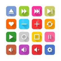 Set of media icons represents a white sign located on the colored rounded square. The web internet buttons isolated on white background. This series designed in simple minimalistic mono flat style with falling long shadow. The design graphic elements are saved as a vector illustration in the EPS file format.