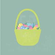Easter basket filled with decorated pastel Easter eggs with stripes, flowers, polka dots, waves, on a textured background