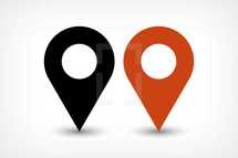 GPS pin points sign. Black and brown colored shape. Map pin sign place location icon created in trendy flat style. The graphic element saved as a vector illustration in the EPS file format for used in your design projects.
