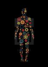 """Gears or cogs of various colors in the shape of a human body representing the working body of Christ.  Romans 12:4, """"For just as each of us has one body with many members, and these members do not all have the same function,""""   Colors and cogs are editable in vector software."""