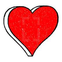 Red heart drawing is created with a ballpoint pen from the hand. Quick and easy recolorable shape isolated from the white background. The design graphic element saved as a vector illustration in the EPS file format for used in your design projects.