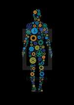 Gears or cogs of various jewel tone colors in the shape of a human body.  Colors and cogs are editable in vector software.