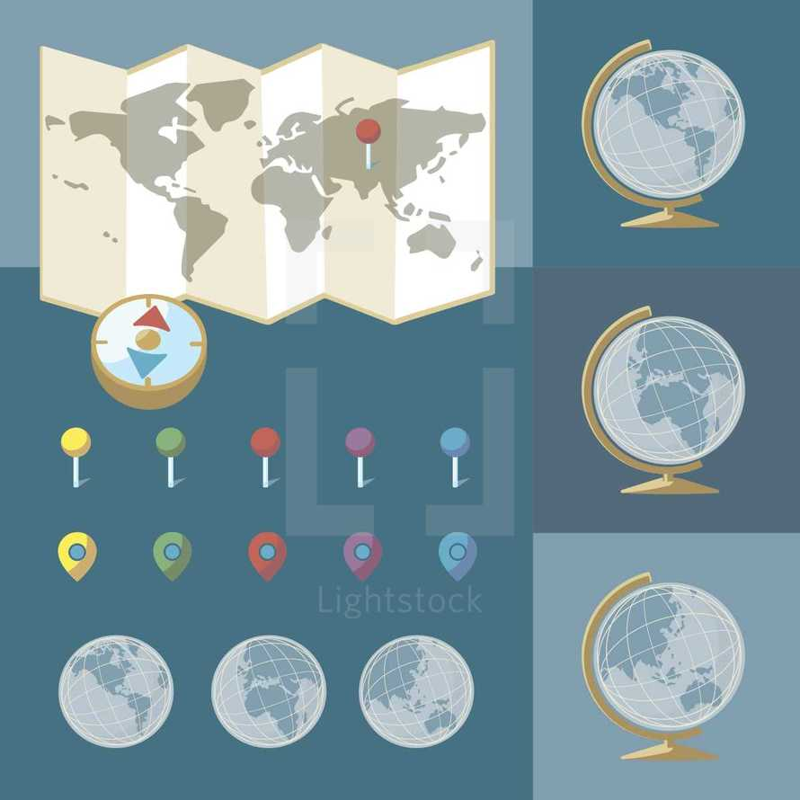 missions, cartographer, map, globe, world, travel, pin points, locations, compass, icon