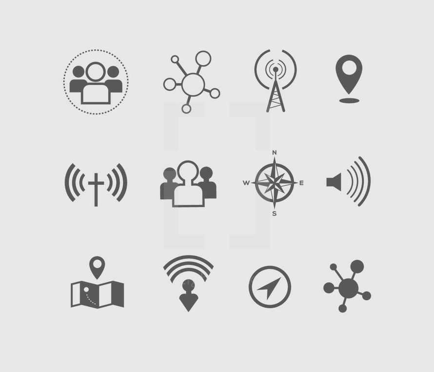 navigation, icon, wifi, direction, atoms, map, pin point, cross, people, membership, compass, volume, connection