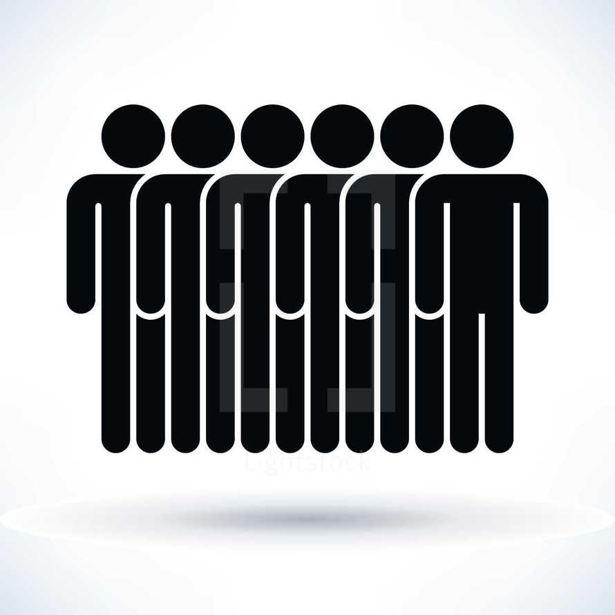 People figures with shadow on white background created in flat style. Quick and easy recolorable shape isolated from the background. The design graphic element saved as a vector illustration in the EPS file format for used in your design projects.