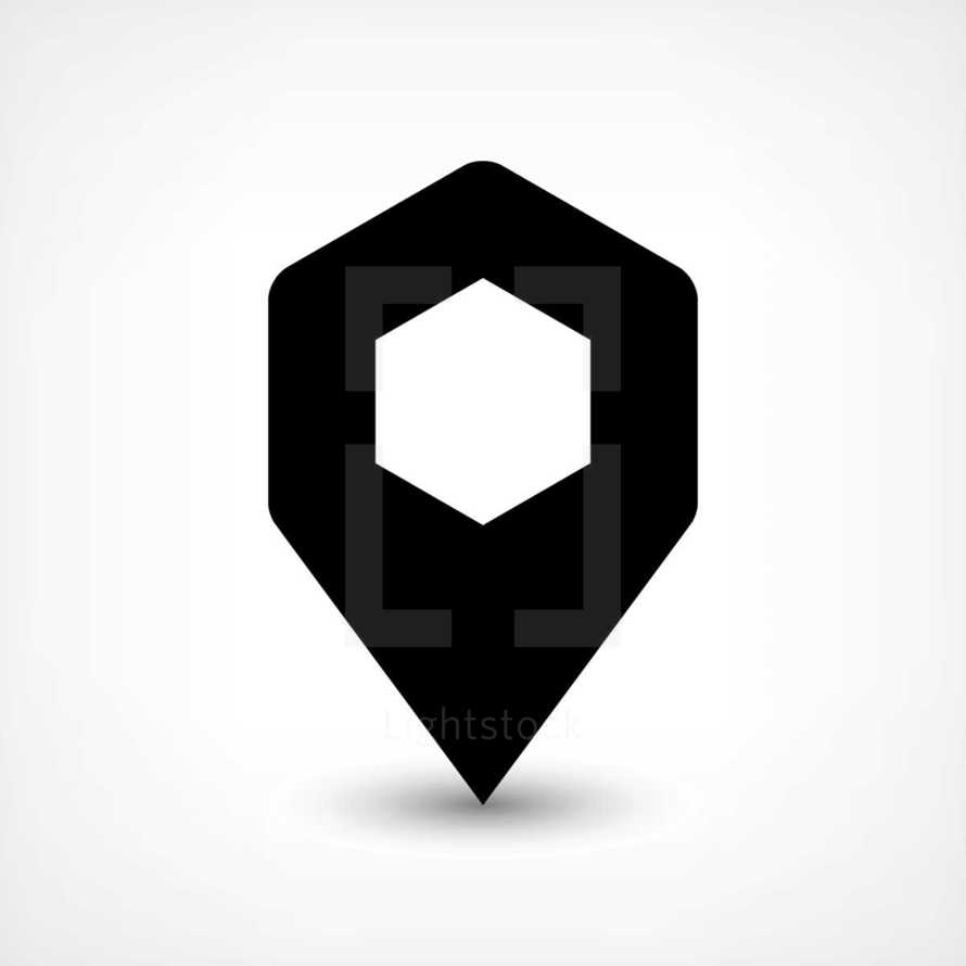 GPS pin points location sign rounded hexagon icon in flat style. Graphic element for design saved as an vector illustration in file format EPS