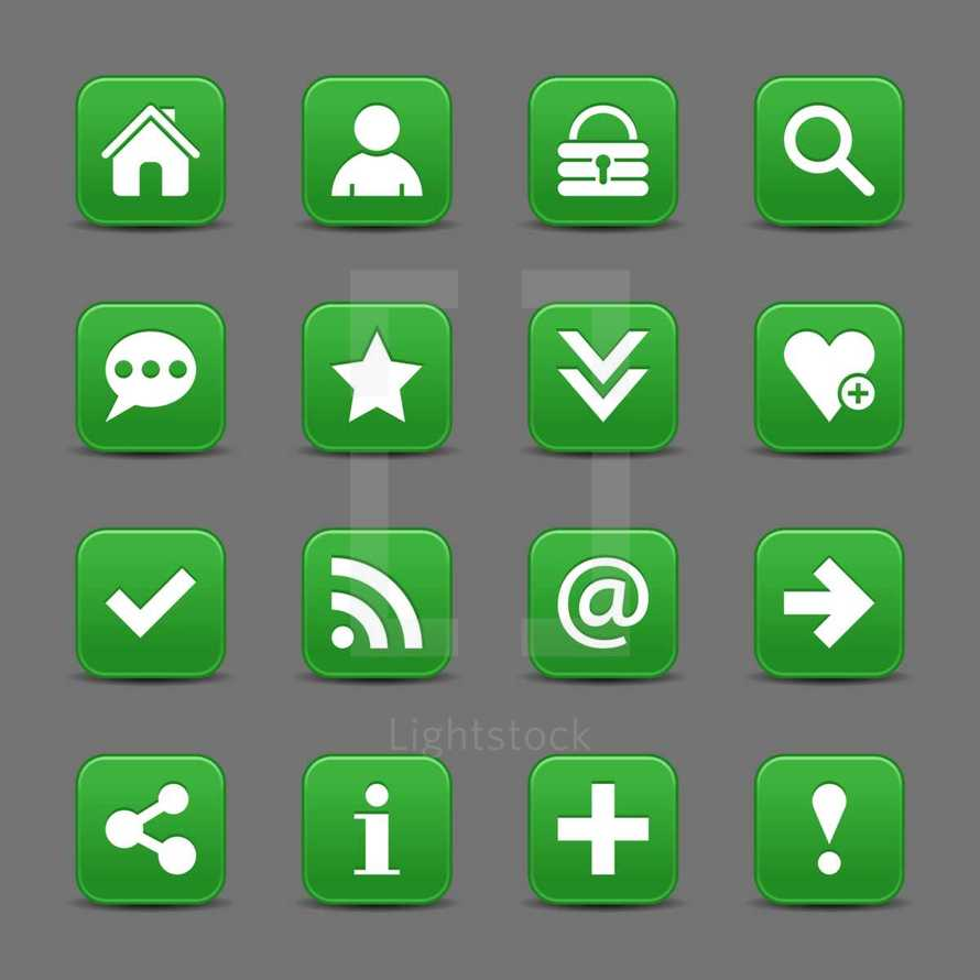 Green satin icon web button with white basic sign. Graphic element for design saved as an vector illustration in file format EPS