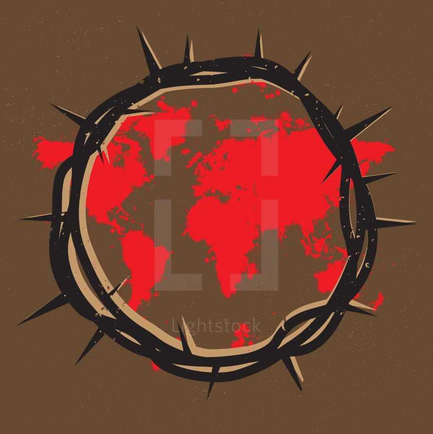 Crown of Thorns, Jesus, Blood Shed, Sacrifice, World, Salvation, map, world map, Redemption, Splatter, Good Friday
