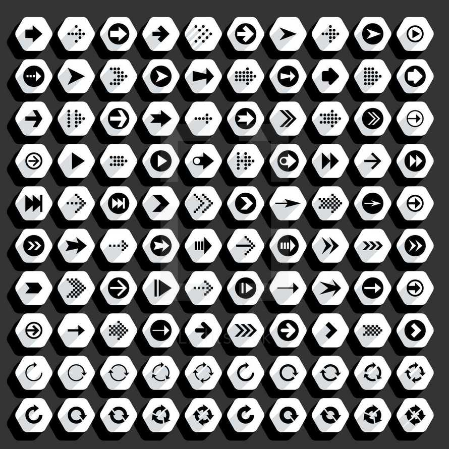 Black arrow signs on white web internet icons in flat style. Graphic element for design saved as an vector illustration in file format EPS