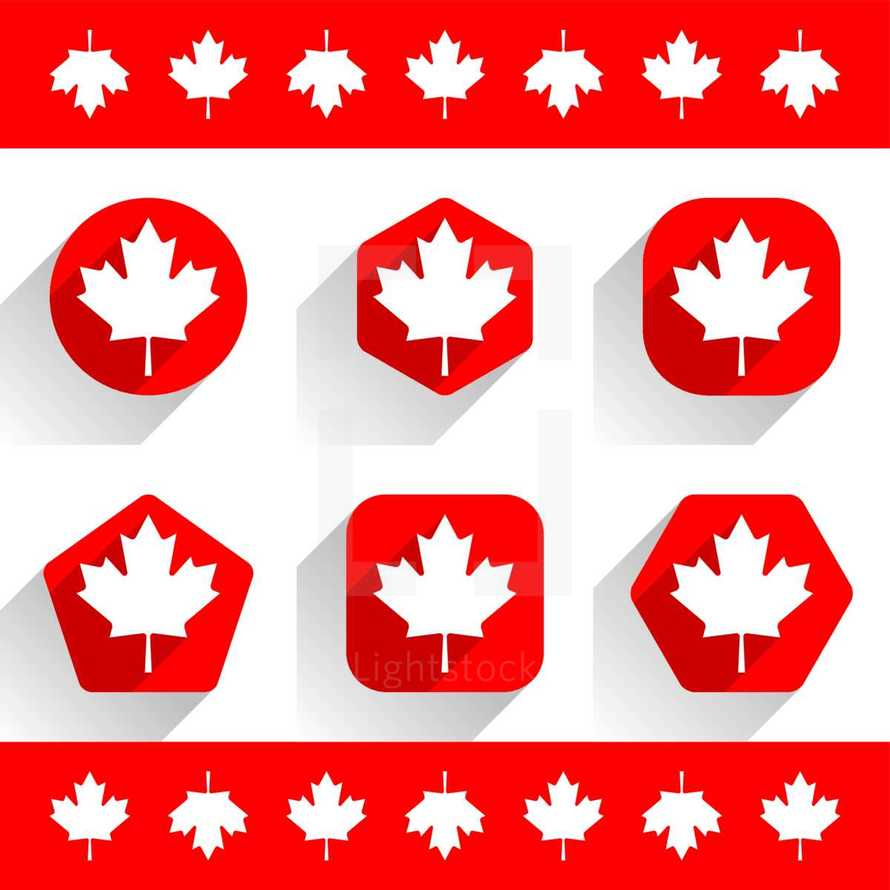 The Maple Leaf or Canadian flag with gray drop shadow on red various shapes in flat style. This design graphic element is saved as a vector illustration in the EPS file format.
