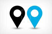 GPS pin points. Map pin sign location icon in flat style. Graphic element for design saved as an vector illustration in file format EPS