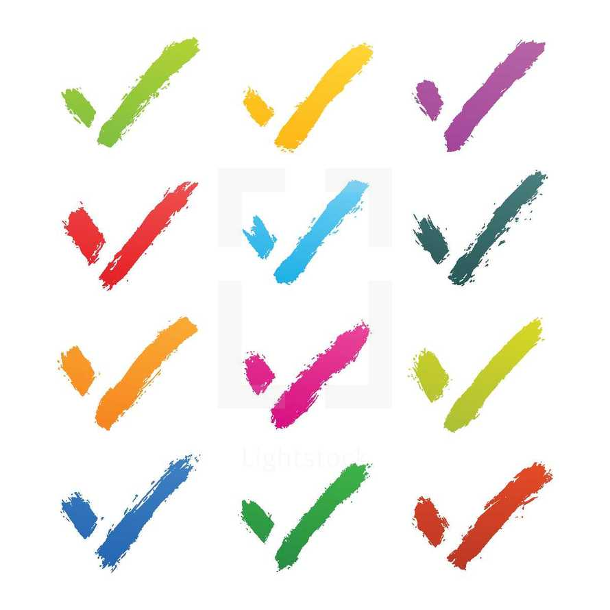 Check mark signs created with a brush and color ink. Graphic element for design saved as an vector illustration in file format EPS