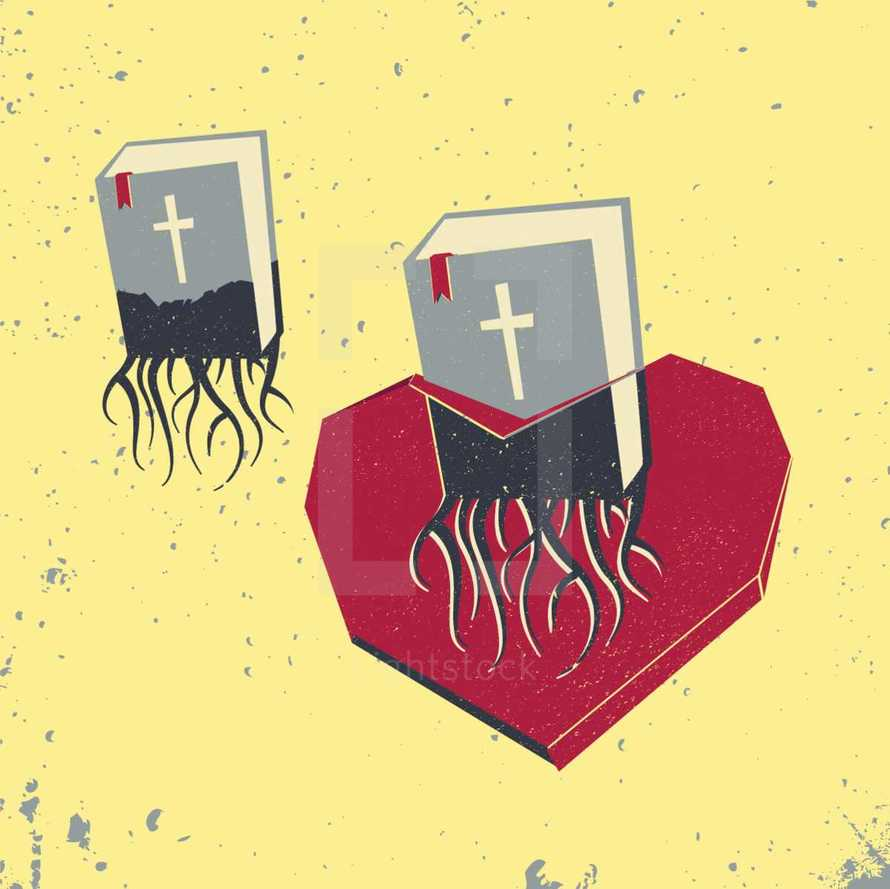 Bible Rooted in Heart - Texture, Grunge, Deep, Word, Inside, Low, icon, Poly