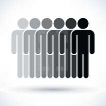 People sign depicting human figures on white background in flat style. Graphic element for design saved as an vector illustration in file format EPS